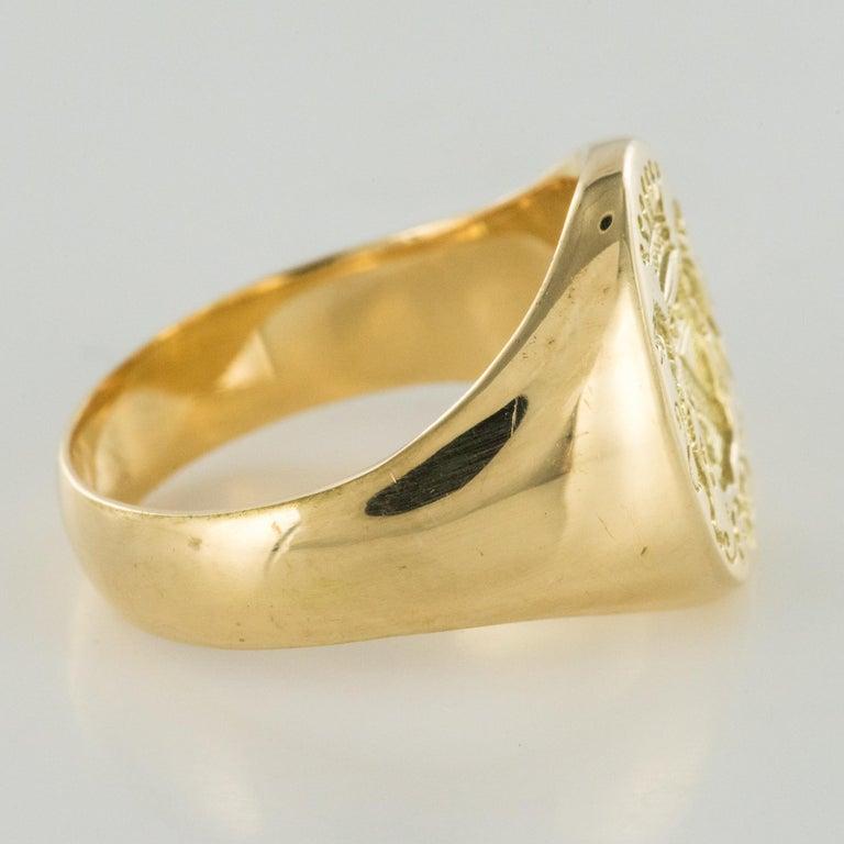 18 Karat Yellow Gold Blazon Men Modern Signet Ring For Sale 6
