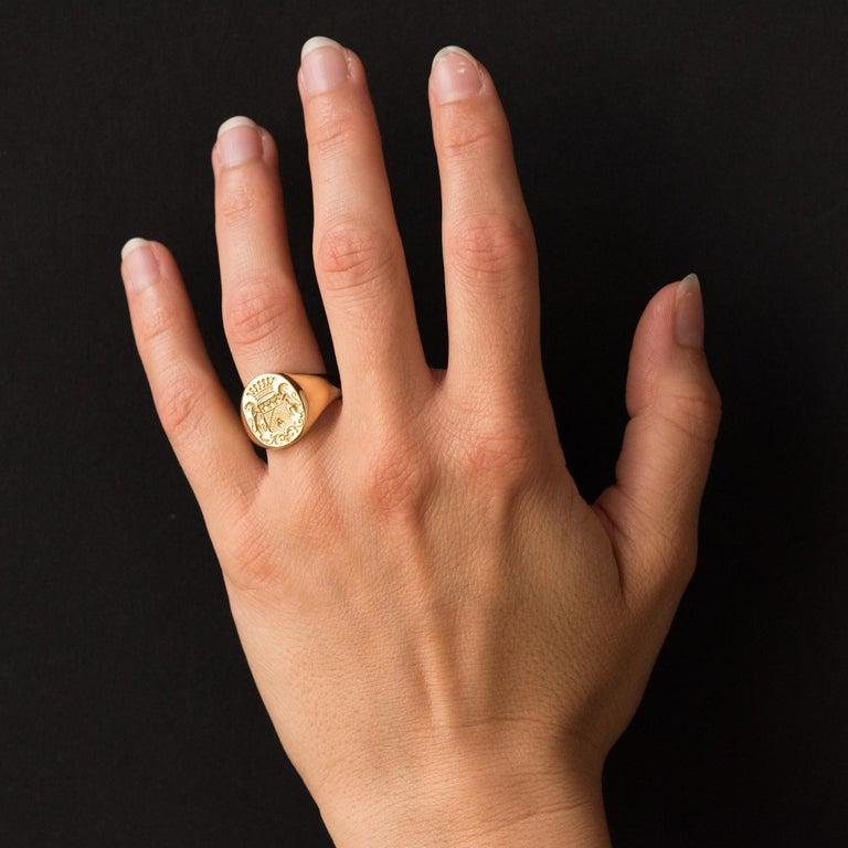 18 Karat Yellow Gold Blazon Men Modern Signet Ring For Sale 7