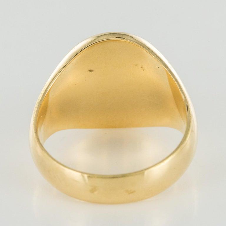 18 Karat Yellow Gold Blazon Men Modern Signet Ring For Sale 8