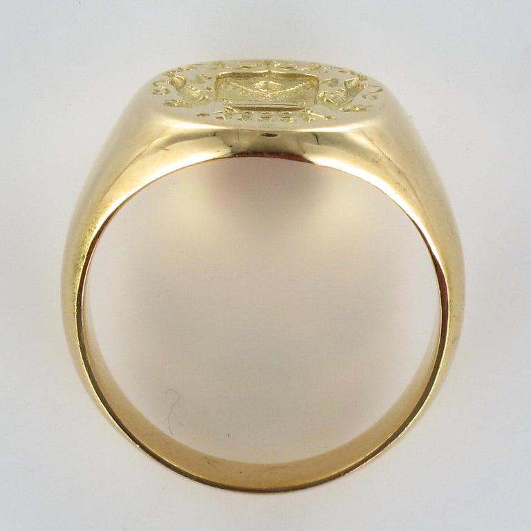 18 Karat Yellow Gold Blazon Men Modern Signet Ring For Sale 9