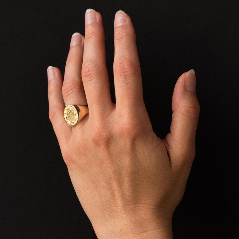 18 Karat Yellow Gold Blazon Men Modern Signet Ring For Sale 4