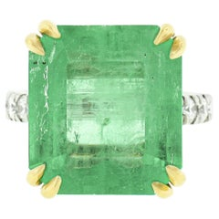 New 18k Gold AGL 10.54ct Colombian Emerald Cocktail Ring w/ Pave Diamond Shank