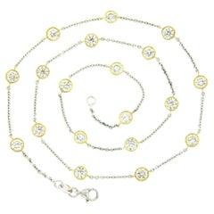 New 18k TT Gold 4.38ctw Large Bezel Set Diamond by the Yard Chain Necklace