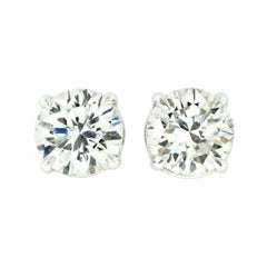 New 18k White Gold 1.46ctw GIA Round Brilliant Cut F VVS Diamond Stud Earrings