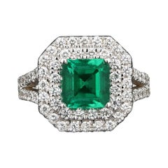 New 18K White Gold 2.15 Carat Zambian Emerald and Diamond Ring
