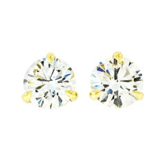 New 18k Yellow Gold 2.24ct Round Brilliant Cut Diamond Martini Set Stud Earrings