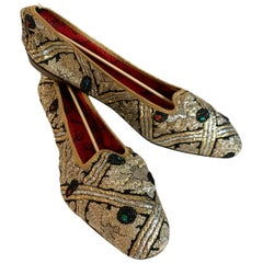 New 1960s Elsa Schiaparelli Folding Flats Slippers Shoes Metallic