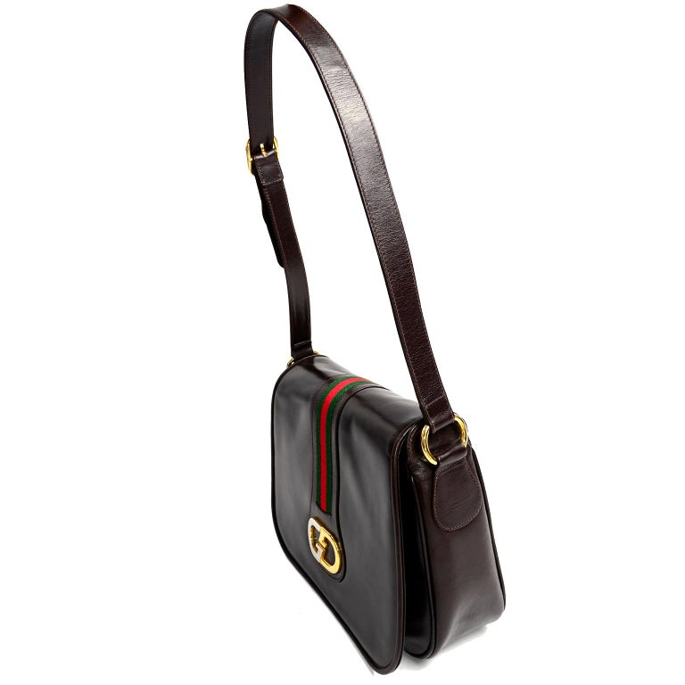 Black New 1970s Brown Gucci Vintage Handbag W/ Tags Red & Green Stripe & Mono Buckle For Sale