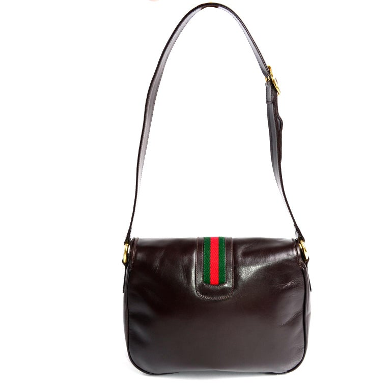 New 1970s Brown Gucci Vintage Handbag W/ Tags Red & Green Stripe & Mono Buckle In New Condition For Sale In Portland, OR