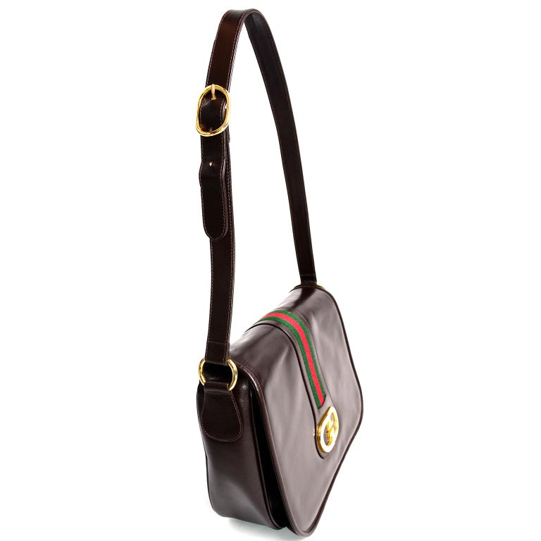 Women's New 1970s Brown Gucci Vintage Handbag W/ Tags Red & Green Stripe & Mono Buckle For Sale