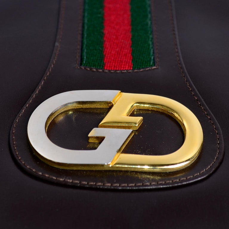 New 1970s Brown Gucci Vintage Handbag W/ Tags Red & Green Stripe & Mono Buckle For Sale 2
