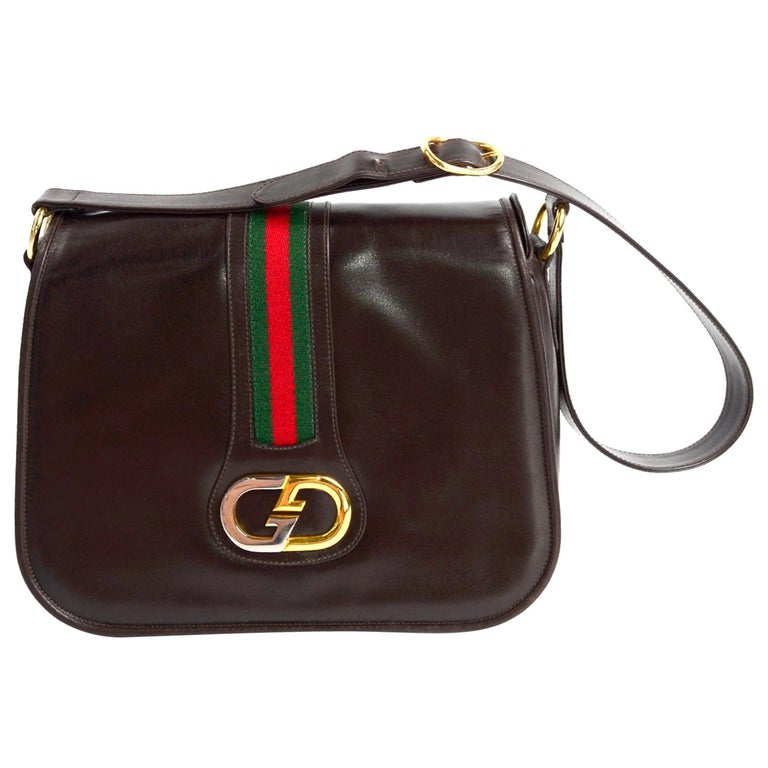 New 1970s Brown Gucci Vintage Handbag W/ Tags Red & Green Stripe & Mono Buckle For Sale
