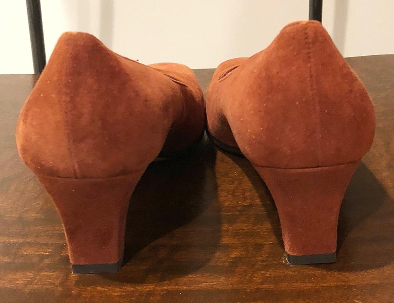 New 1990s Salvatore Ferragamo Size 6.5 Light Brown Suede Low Heels Vintage Shoes 6