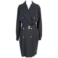 New 1990s Salvatore Ferragamo Wool Black Double Breasted  Long Dress