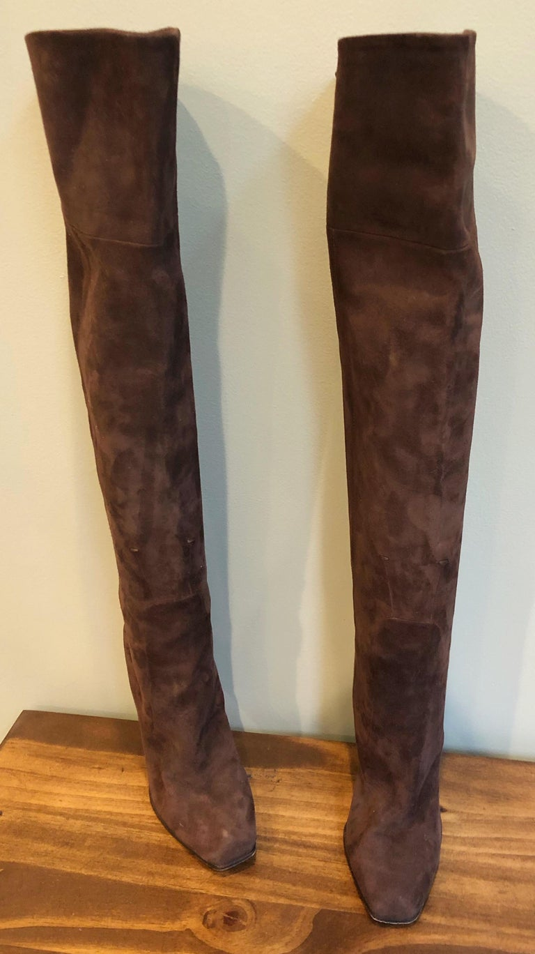 Women's New 2000s Costume National Size 36 / 6 Brown Suede Leather Knee High Heel Boots For Sale