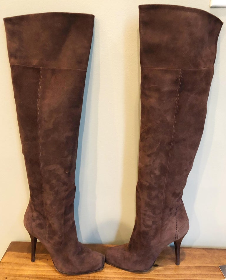 New 2000s Costume National Size 36 / 6 Brown Suede Leather Knee High Heel Boots For Sale 1