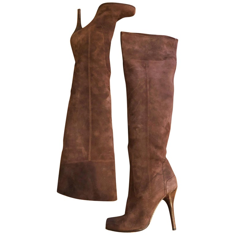 New 2000s Costume National Size 36 / 6 Brown Suede Leather Knee High Heel Boots For Sale