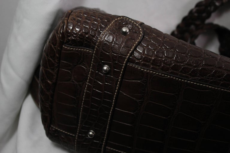 New 2007 Gucci Men's Cocco Nappato crocodile Travel Bag with Detachable Strap For Sale 4