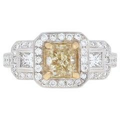 NEW 2.00ctw Radiant Cut Diamond Ring - 18k Gold Halo EGL Fancy Yellow VVS2