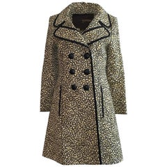New 2011 Runway Louis Vuitton Yellow Black and White Floral Print Coat
