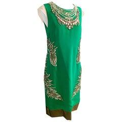 New 2013 Thakoon Runway Hand Beaded Italian Silk Cocktail Dress Size-6