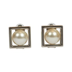 New 2015 Chanel Silver & Pearl Square Earrings