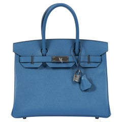 NEW 2018 Hermès 30cm Blue Azur Palladium Birkin Bag in Box