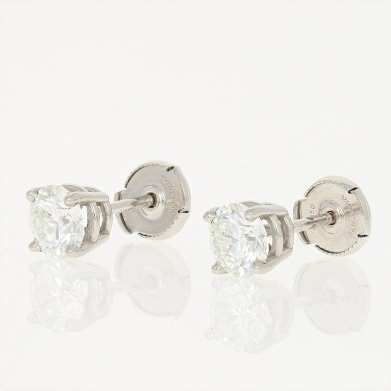 Round Cut 2.01 Carat Round Brilliant Diamond Earrings, 950 Platinum GIA Pierced Studs For Sale