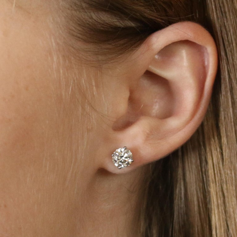 2.01 Carat Round Brilliant Diamond Earrings, 950 Platinum GIA Pierced Studs In New Condition For Sale In Greensboro, NC