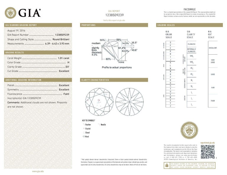 2.01 Carat Round Brilliant Diamond Earrings, 950 Platinum GIA Pierced Studs For Sale 2
