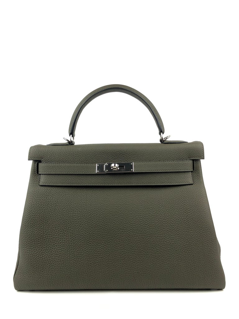 NEW 2020 Hermes Kelly 32 Vert Maquis Green Gray Togo Palladium Hardware. Y stamp 2020. From collectors closet, has been displayed and handled but never worn out.   Shop with confidence from Lux Addicts. Authenticity guaranteed!
