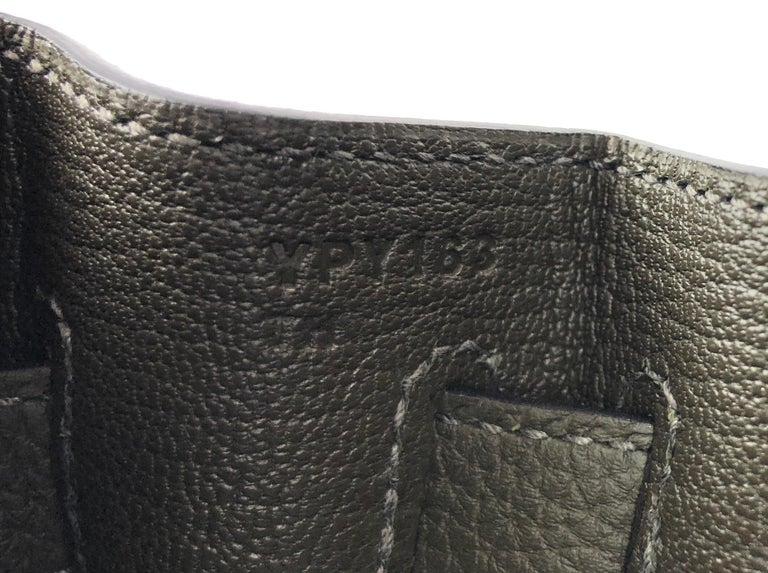 New 2020 Hermes Kelly 32 Vert Maquis Green Gray Palladium Hardware  For Sale 1