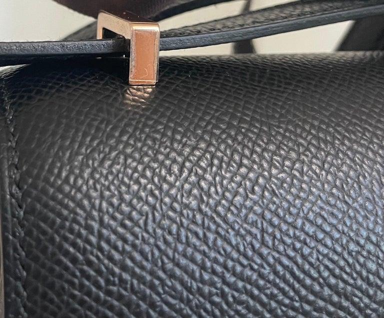 New 2021 Hermes Constance 18 Mini Black Epsom Rose Pink Gold Hardware  For Sale 1