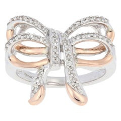 New .20ctw Diamond Bow Ring, Sterling Silver & 14k Rose Gold Women's