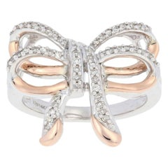 New .20ctw Single Cut Diamond Bow Ring, Sterling Silver & 14k Rose Gold