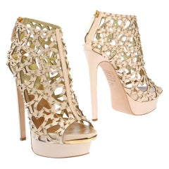 New $2150 DSQUARED2 Heart Cut Out Studded Platform Leather Beige Boots 38 , 39