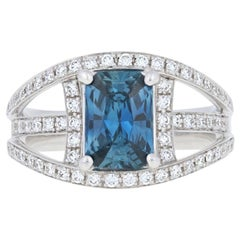 NEW 2.25ctw Radiant Cut Sapphire & Diamond Ring - 14k White Gold Halo GIA
