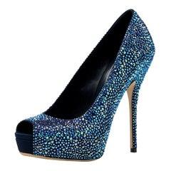 New $2,295 Gucci Sofia Etoile Blue Crystal Encrusted Peep Toe High-Heel Pump 38