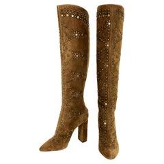 New $2495 Saint Laurent *Ella* Studded Brown Suede Knee Boots It 41