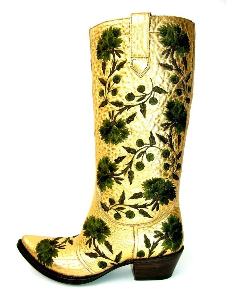 New $2650 GIANNI BARBATO Western Bullhide Leather Embroidered Boots  35.5 - 5.5 In New Condition For Sale In Montgomery, TX