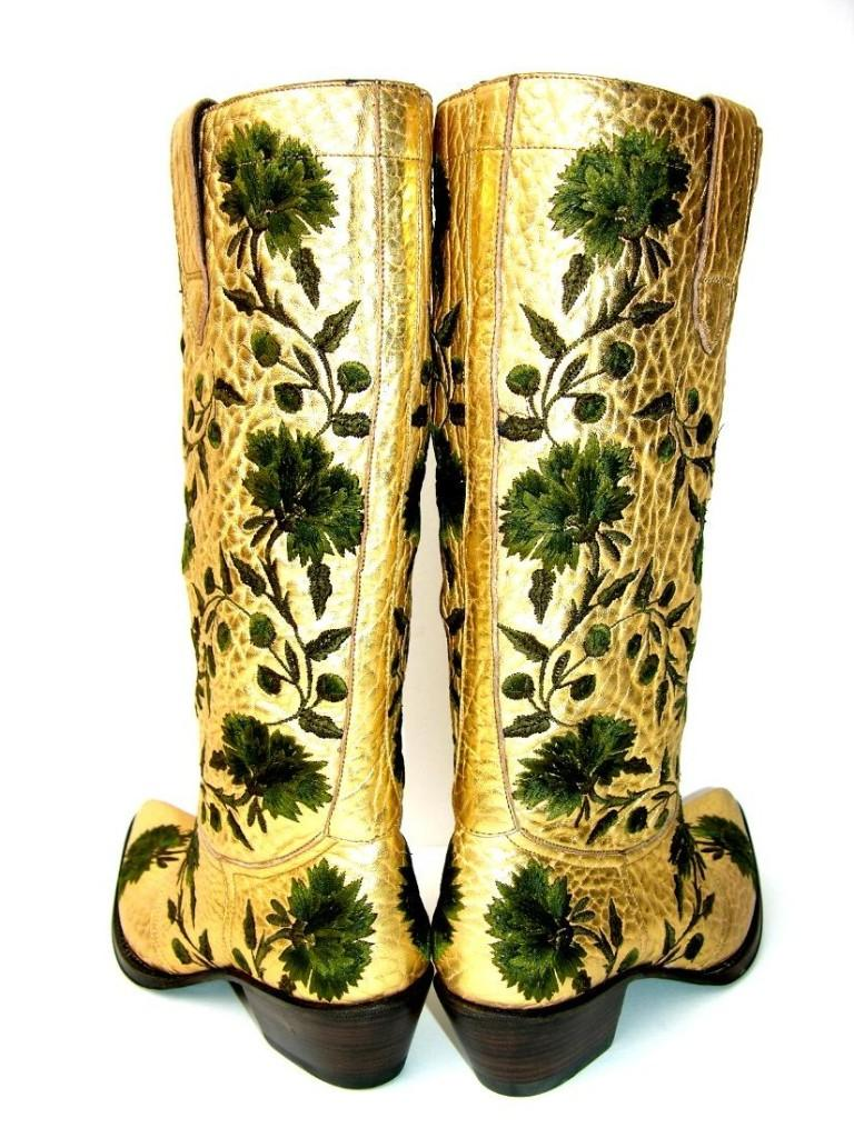 New $2650 GIANNI BARBATO Western Bullhide Leather Embroidered Boots  35.5 - 5.5 For Sale 1