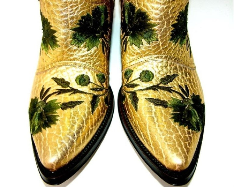 New $2650 GIANNI BARBATO Western Bullhide Leather Embroidered Boots  35.5 - 5.5 For Sale 2