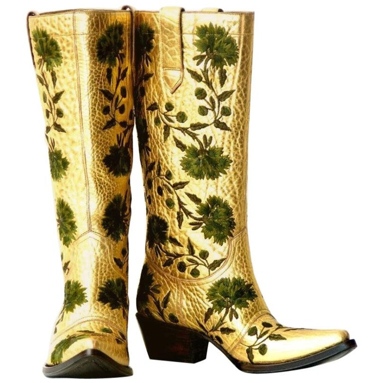 New $2650 GIANNI BARBATO Western Bullhide Leather Embroidered Boots  35.5 - 5.5 For Sale