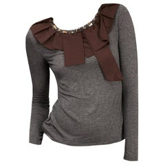 New 2b. Rych Soft Grey Blouse Top Shirt with Jeweled Neck Sz M