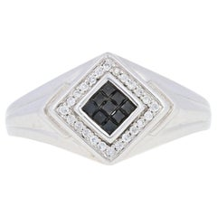 New .33ctw Princess Cut Black Diamond Ring, Sterling Silver Men's Cluster Halo
