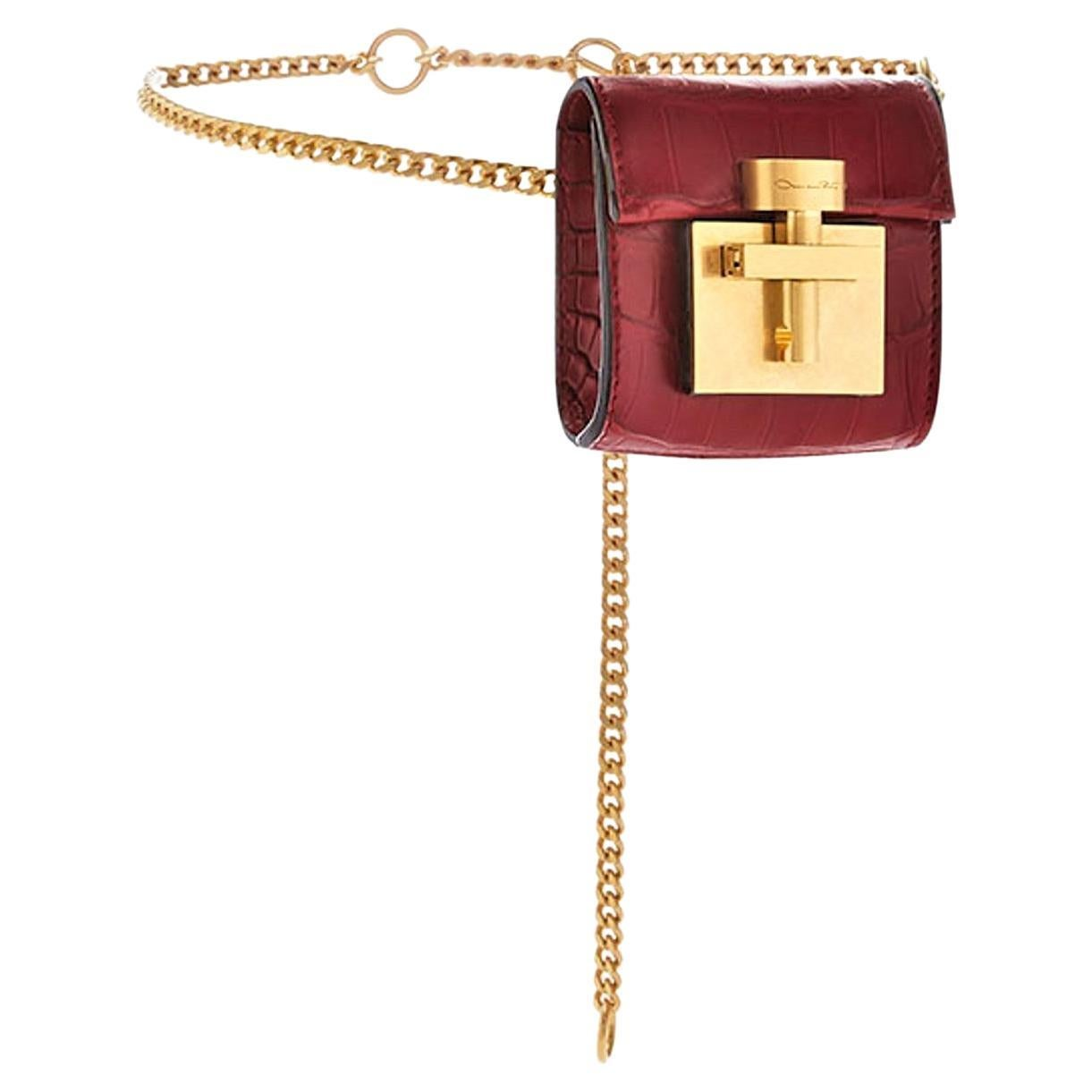 New $4290 Oscar De La Renta Red Alligator Alibi Belt Bag & Cross Body Bag