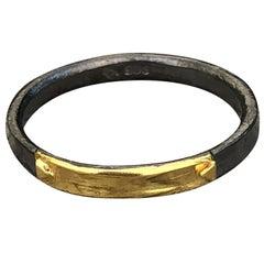 14 Karat Yellow Gold Oxidized Silver Wedding Band Ring