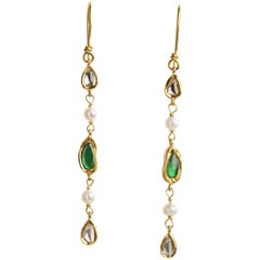 Dangle Earrings, Diamonds, Emerald and Pearls 14 Karat Gold