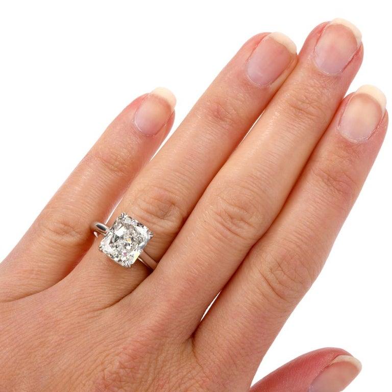 5.03 Carat G-VVS1 Radiant Cut GIA Certified Diamond Platinum Engagement Ring For Sale 1