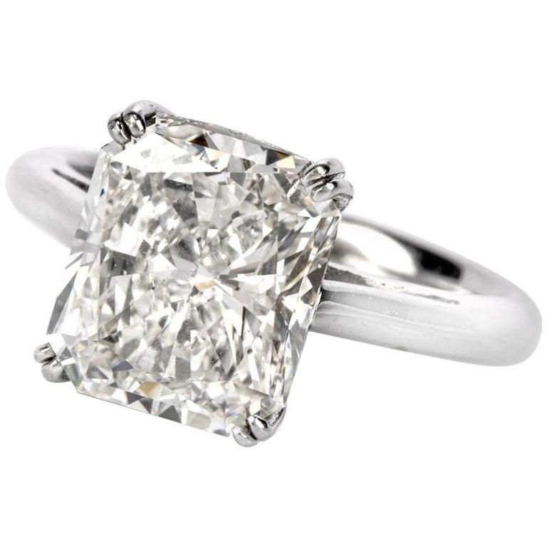 5.03 Carat G-VVS1 Radiant Cut GIA Certified Diamond Platinum Engagement Ring For Sale
